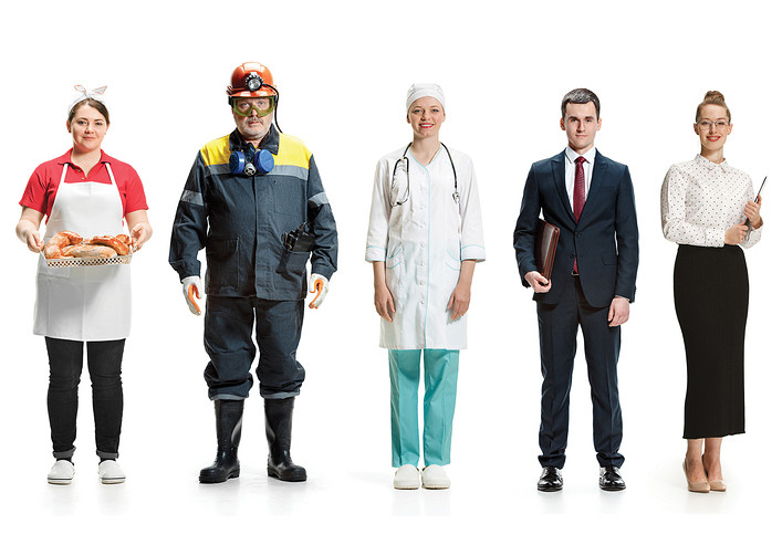 A line up of professionals, from left, a cook, a miner, a doctor, a salesman and a secretary.