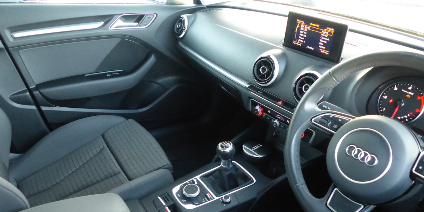 Front interior of an Audi A3