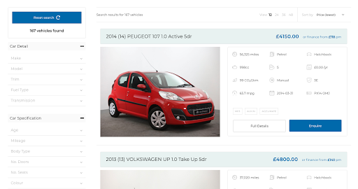 Screenshot of used car search page on Autostore website: Car Detail and Car Specification options on left, cars listed on right.