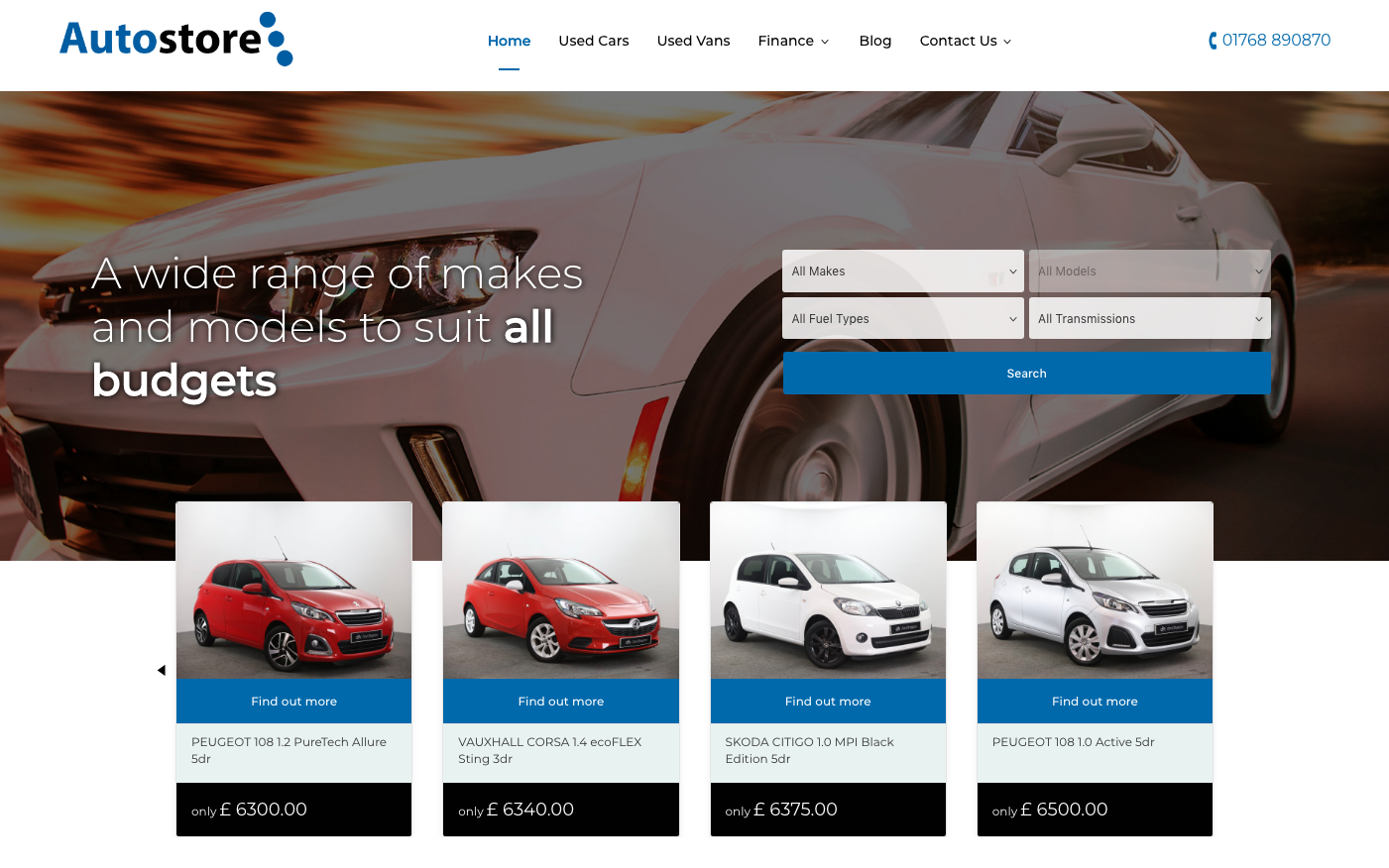 Screenshot of new Autostore website home page: A wide range of makes and models to suit all budgets