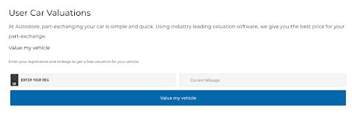 Screenshot of Autostore Car Valuation page on website: At Autostore, part-exchanging your car is simple and quick.